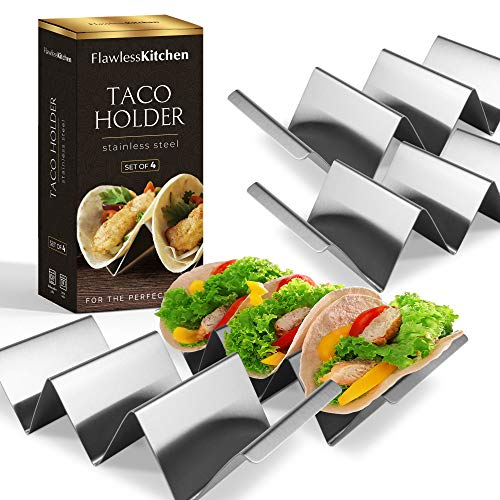 (Premium Taco Holder (4 Pack) by Flawless Kitchen - Serve Your Taco Plates With Our Stylish Stands - Stainless Steel Rack Holds Up To 3 Mini Or Large Shells -)
