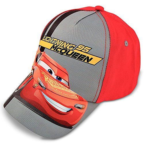 Disney Little Boys' Cars Lightning McQueen Cotton Baseball Cap, Red/Grey, Age 4-7