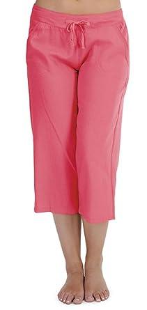 402654b446123 Tom Franks Ladies Solid Colour Linen 3 4 Length Trouser Lounge Wear Pants   Amazon.co.uk  Clothing