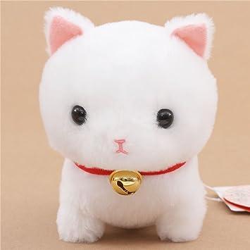 Lindo peluche gato blanco con collar rojo y cascabel Yappari Munchkin de Japón