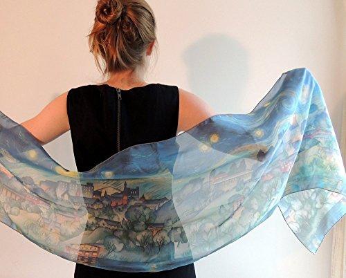 University Drape (Silk Scarf, Boho, Cornell University, Ithaca, Starry Night, Christmas Gift, Gift For Her, 16