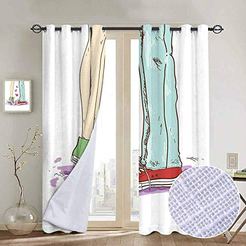 hengshu Valentine Shading Insulated Curtain Cartoon Couple Boy Girl Dating Kissing Hipster Romantic Hearts Shoes Sketch Art for Living Room or Bedroom W96 x L84 Inch Multicolor