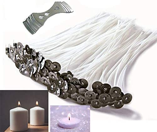 Candle Making Kit 4 inch Cotton Candle Wicks with Candle Wick Stickers and Centering Device for Candle DIY