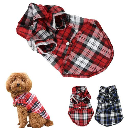 BYyushop Cute Pet Dog Puppy Plaid Shirt Coat Clothes T-Shirt Top Apparel Size XS S M L - Green M
