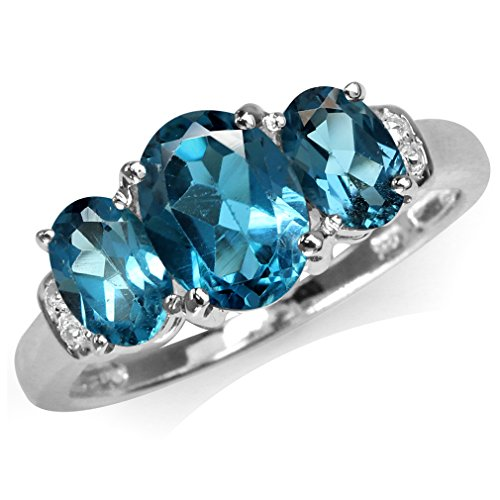 2.6ct. 3 Stone Genuine London Blue Topaz White Gold Plated 925 Sterling Silver Ring