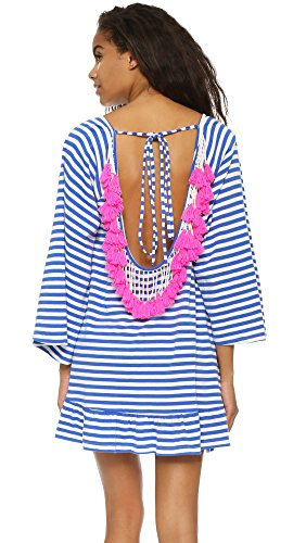 SUNDRESS Women's Indiana Stripe Short Beach Dress, Light Blue/Neon Pink, XS/S by Sundress