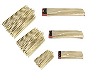 """Set of 300 Bamboo Skewers in Assorted Sizes. 6"""", 10"""", and 12"""" Long Combo"""