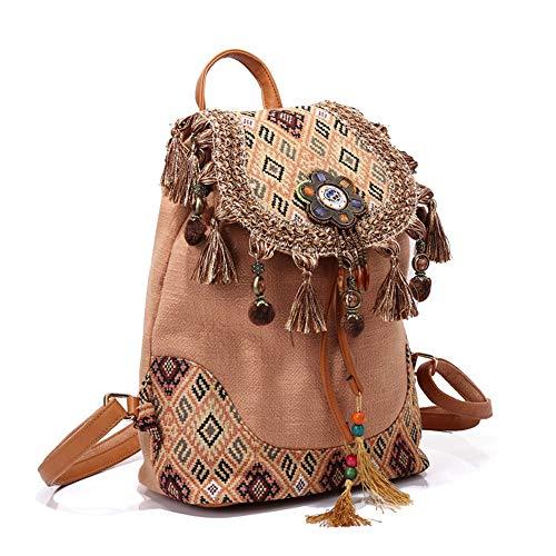 Bolsa Bolsas Bag Mochila Bohemio Vendimia Gray Étnicas Hombro Borla Mujeres red Señoras Algodón La De Tela Estilo Las Mochila q64PqCn