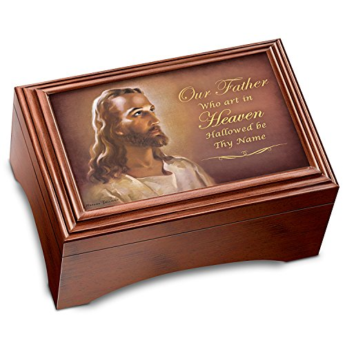 (Warner Sallman The Lord's Prayer Holy Land Olive Wood Prayer Cross With Musical Keepsake Box by The Bradford Exchange)