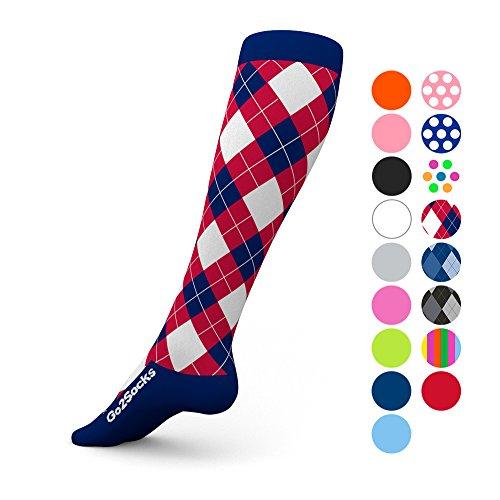 Go2Socks GO2 Compression Socks for Men Women Nurses Runners 20-30 mmHg (high) - Medical Stocking Maternity Travel - Best Performance Recovery Circulation Stamina - (RWBAr,S)