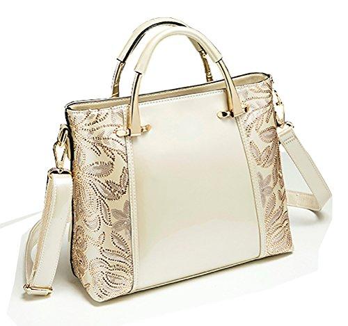 Himaleyaz Bolso de hombro del cuero de patente del bolso de las mujeres de la alta manera de la moda con el bolso de totalizador de la flor de la lentejuela de la Borgoña Blanco