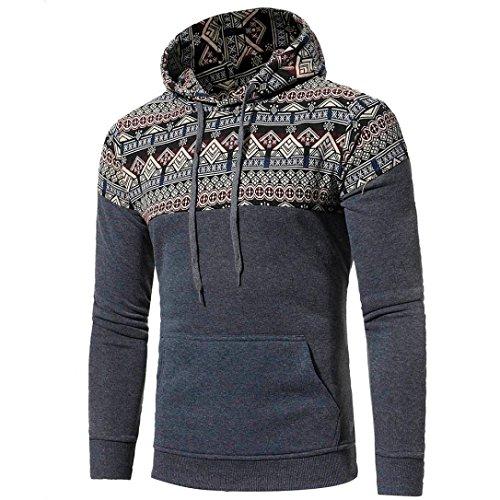 Fall Men Bohemia Retro Long Sleeve Hoodie Sweatshirt Tops Jacket Coat Outwear by Bookear