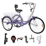 MOPHOTO Adult Tricycle Trike Cruiser Bike Three-Wheeled Bicycle w/Large Basket and Maintenance Tools, Men's Women's Cruiser Bicycles, 26 Inch 3 Wheel Bike Trike (26 Inch Purple)