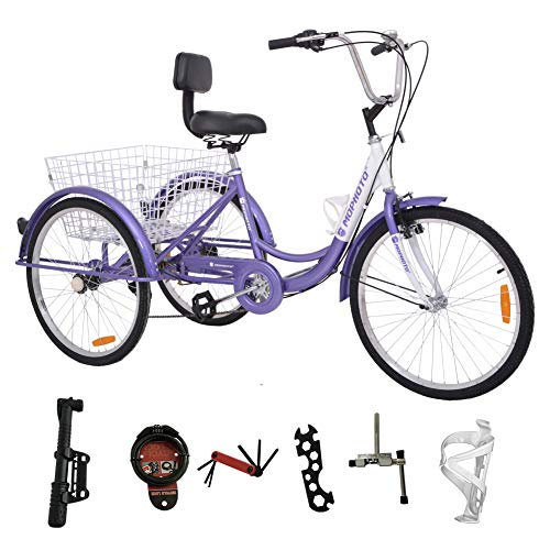 DoCred 26 Inch Adult Tricycle Series 7 Speed 3 Wheel Bike Adult Tricycle Trike Cruise Bike Large Size Basket for Recreation, Shopping, Exercise Men's Women's Bike (7 Speed- Purple)