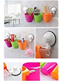 Diswa Multipurpose Colourful Super Suction Home Bathroom Kitchen Rack Shelves Storage Toothbrush Holder with 3 large removable cups. Made of Stainless Steel and Plastic. Easy to Install in 2 minutes.