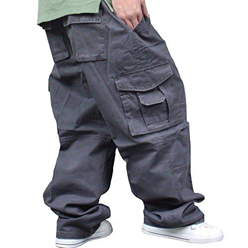 Men Plus Size Cargo Trousers Outdoor Dance Pants Loose Baggy Hip Hop Pocket (Grey, 100cm(Waistline: 100cm/39.4 inches)) by Hao Run
