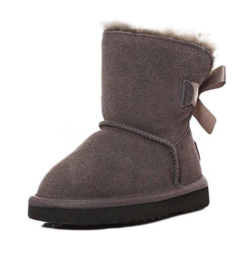 SKUTARI - Mädchen Winterstiefel Mini Boots Wildleder Gefüttert Schleife Winterstiefel, Grau , Größe 27