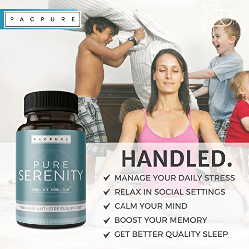 PURE SERENITY Premium Anxiety Relief & Stress Support Supplement  -Pharmaceutical Grade All Natural Calmness, Positive Mood & Relaxation  Support - 5