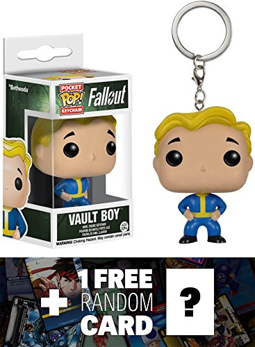 - Vault Boy: Pocket POP! x Fallout Mini-Figure Keychain + 1 FREE Video Games Themed Trading Card Bundle (086862)