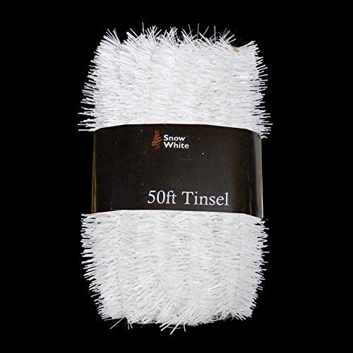 Xmas Decorations 50 Foot Extra Long Tinsel Pack In White