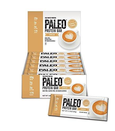 Paleo Protein Bar® (Espresso) 12 Bars (20g Egg White Protein 2 Net Carbs w/100mg Organic Caffeine)