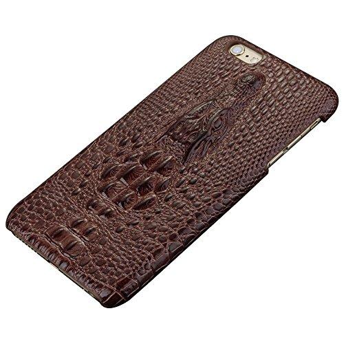 iPhone 7 / 7 Plus Funda, Vanki® Leather Cuero Funda Negra Carcasa Piel Cocodrilo 3D Bumper Case Shock- Absorción y Anti-Arañazos Protección para iPhone 7 / 7 Plus Marrón oscuro