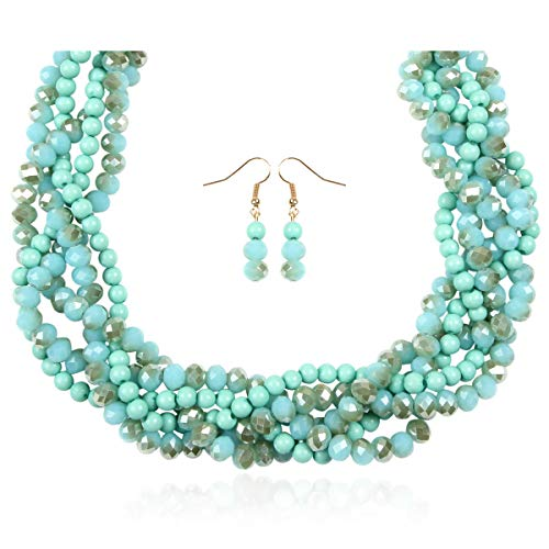 - RIAH FASHION Braided Chunky Cluster Bead Bubble Statement Necklace - Multi Strand Twisted Colorful Twisted Ball Hammock Bib Collar Acrylic, Sparkly Crystal (Sparkly Twisted Bauble - Multi Aqua)