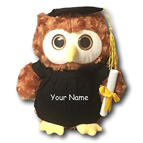Personalized Graduation Owl With Cap, Gown and Diploma - Customized with Your Name on Gown (Custom Graduation Caps)