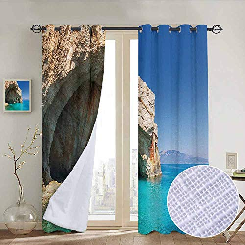 ins by Greece,Sea Cave on Zakynthos Island Greece Vacation Relaxing Seascape Coastline Picture,Tan Light Blue,Wide Blackout Curtains, Keep Warm Draperies,1 Pair 84