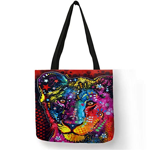 (Oil Painting Tote Bags Animal Prints Horse Tiger Linen Foldable handbag Shopping School Travel 011)
