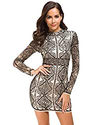 Sequin Embroidery Long Sleeve Dress