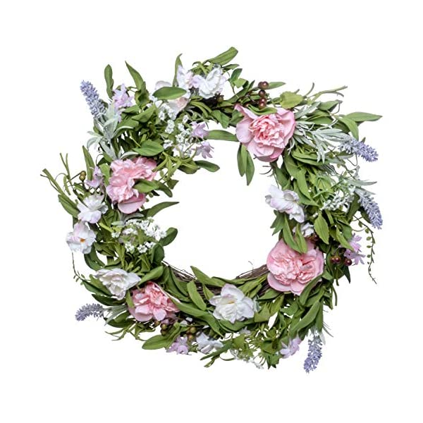 Red Co. 18″ Beautiful Pink Spring, Artificial Spring & Summer Wreath, Door Backdrop Ornaments, Home Décor Collection