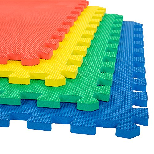 Stalwart Foam Mat Floor Tiles, Interlocking EVA Foam Padding Soft Flooring for Exercising, Yoga, Camping, Kids, Babies, Playroom - 4 Pack