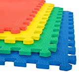 Stalwart Foam Mat Floor Tiles, Interlocking EVA Padding – Soft for Exercising, Yoga, Camping, Kids, Babies, Playroom – 4 Pack
