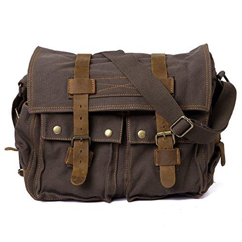 HDE Vintage Canvas Military Tactical Ammo Style Shoulder Messenger Field Bag (Olive Drab)