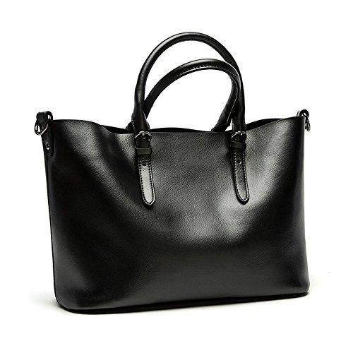 Kattee Women's Pure Color Leather Hobo Tote Shoulder Bag (Black, (Hobo Color)