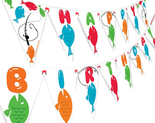 Blue Ribbon Fun Fish - POP parties Fishing Happy Birthday Banner Pennant - Fishing Party Banner - Fishing Decorations