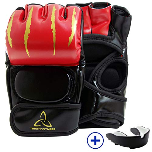 TrinityFitness MMA Gloves Grappling Martial Arts Sparring Punching Bag Cage Fighting Leather Mitts from Trinity Space