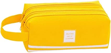 Estuche grande con doble cremallera para lápices Kawaii, para niñas, color amarillo: Amazon.es: Oficina y papelería