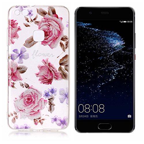 Funda Huawei P10 Lite, P10 Lite Funda Silicona, SpiritSun Soft Carcasa Funda para Huawei P10 Lite (5.2 pulgadas) Trasparente Carcasa Case Cristal Gel Protectora Carcasa Ultra Delgado y Ligero Flexible Rose Flor