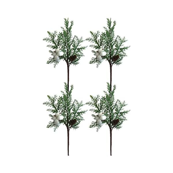 Holibanna 4pcs Christmas Wreath Stems Pick Artificial Pine Cotton Sprays for Flower Arrangements Bouquet DIY Craft Christmas Xmas Tree Decoration Ornament (Green)