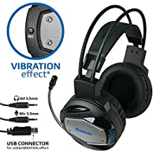 "Gaming Headset Defender G-500 for PC - Vibration effect, Professional Wired Gaming Bass ""Over-Ear"" Headphones with Mic 3.5mm, LED Light Noise Cancelling & Volume Control. Bonus Game"