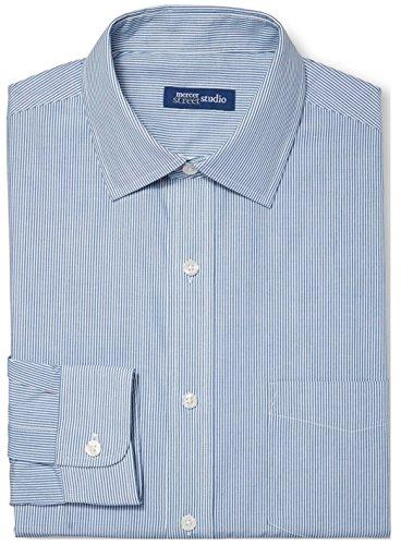 Down Button Dress Shirt Pinstripe (Mercer Street Studio Men's Button Down Dress Shirt (15.5