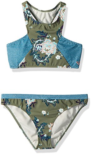 Roxy Big Girls' Surf The Desert Crop Top Bikini Set, Olive Arizona Rising, (Roxy Kids Girls Swimwear)