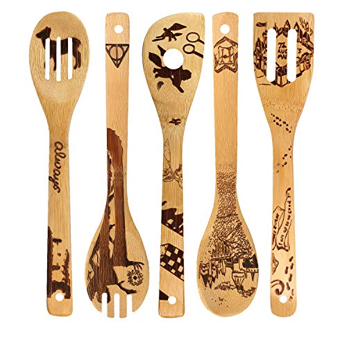 - Burned Wooden Bamboo Spoon Magic Castle Pattern Kitchen Cooking Serving Utensil House Warming Gift Set Eco-Friendly Wooden Flat Shovel Slotted Spatula Folk Solid Spoon