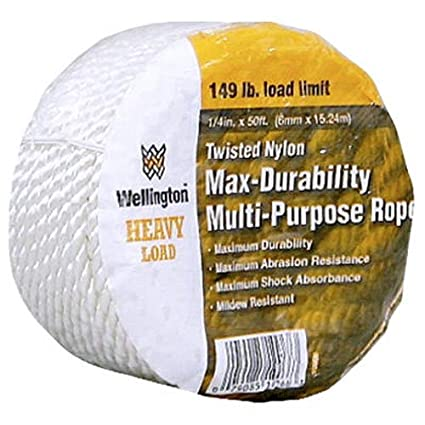 WELLINGTON CORDAGE 10966 1/4-Inch X 50-Feet White Nylon Rope