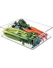 """InterDesign Refrigerator and Freezer Divided Storage Organizer Bins for Kitchen, 12"""" x 4"""" x 14.5"""", Clear"""