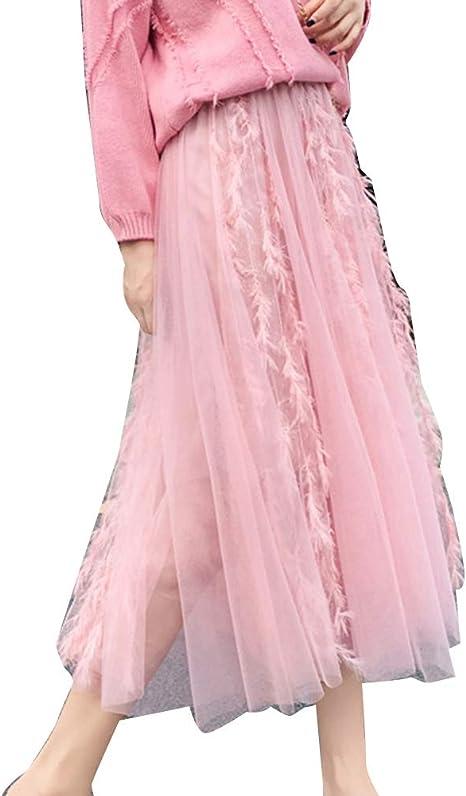 Mujer Faldas Largas Cintura Alta Elegantes Otoño Invierno Plisada ...