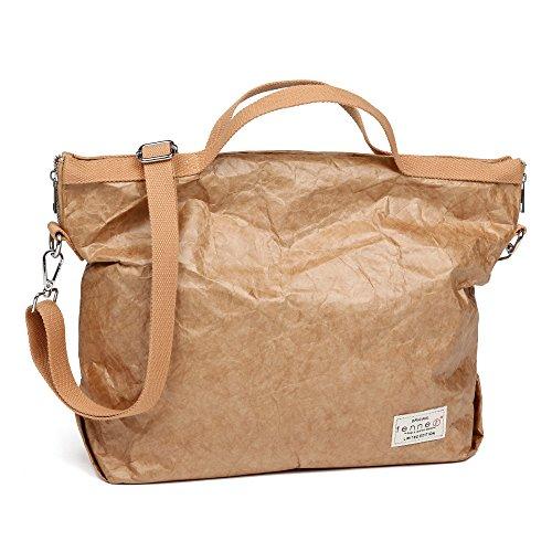 Fenner-Fashion Paper Bag Umhängetasche Damenhandtasche Handtasche klein Rom Hellbraun Hellbraun