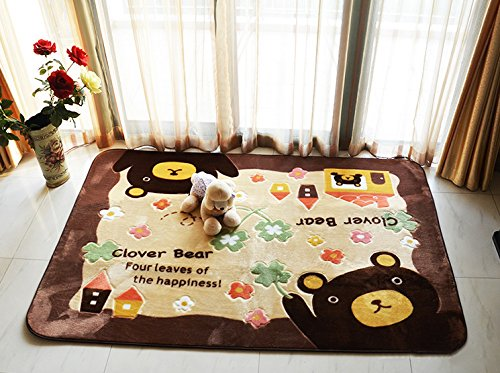 MeMoreCool Cute Cartoon Bear Design Home Decoration Area Rugs Environmental Anti-slip Bedroom/Living Room Carpet Yoga Mat Baby Crawling Mats Kids Play Mat Machine Washable Rugs 51.18 by 72.83 Inch For Sale